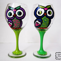 Owl cutie wine set Hand painted Goblet Wine glass by Jdboutique
