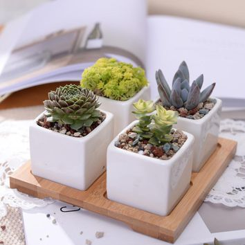 KEYBOX Hot Sale  Minimalist Cube Flowerpot White Ceramic Modern Succulent Plant Pot with Bamboo Stand Bonsai Planter Garden