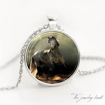 Horse necklace,Horse pendant,,Art pendant,Art jewelry,Picture pendant,Picture necklace,Picture jewelry glass pendant
