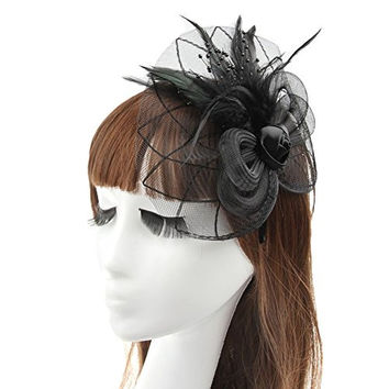 LYQ Lady Girl Wedding Party Feather Mesh Flower Fascinator Hair Clasp Headpieces Accessories Black