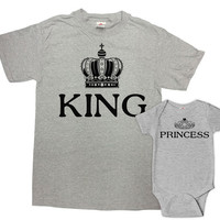 Father Daughter Matching Shirts Father And Daughter Gift Dad And Daughter Top Daddy And Me Clothing King And Princess Bodysuit - SA627-629