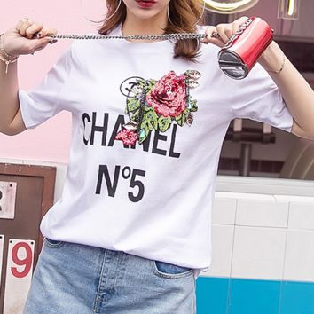 Chanel new letter 5N embroidery beads pattern T-shirt blouse White