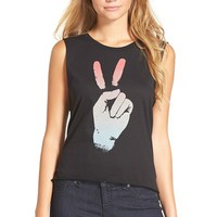 Junior Women's Malibu Native 'Peace Sign' Muscle Tee,