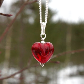 Deep Red Small Glass Heart Sterling Silver Necklace, Childrens Necklace, Ruby Red, Lampwork Jewelry, Handmade in Sweden