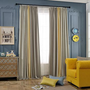 A611 Camel/Yellow/Geometric Pattern Cotton-blended 3 in 1 Window Curtain Panel