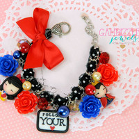Snow White bracelet, Evil Queen bracelet, follow your heart, snow white jewelry, evil queen charm, snow white charm, Disney gifts