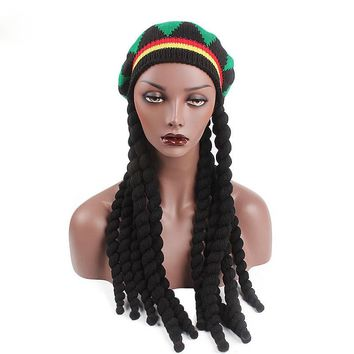 DENISKA 2018 new Men Women Rasta Hat Dreadlocks Wig Bob Marley Caribbean Fancy Dress Prop Unisex Knitted Beanie Hat