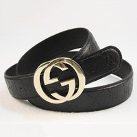 Perfect GUCCI Woman Men Fashion Smooth Buckle Belt Leather Belt