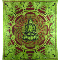 Green Buddhism Screen Printed Tapestry Wall Decor Art