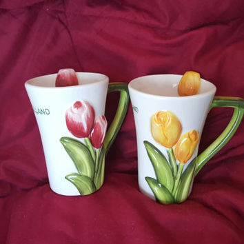 A Set of Two 3-D Tulip Design Coffee Mugs Made in Holland, 3 D Tulip Design Coffee Cups