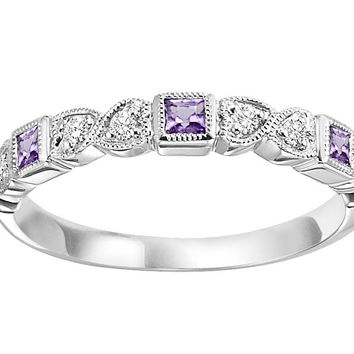 10k white gold diamond and square created alexandrite birthstone ring