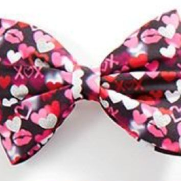Justice Girl's HEART Valentine's Day Print Glitter Snap Bow NWT