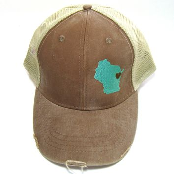 Wisconsin Trucker Hat - Distressed Snapback - Aqua on Brown Wisconsin Hat - Heart over Green Bay