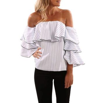 2017 Fashion Ruffles Striped White Blouse blusas mujer Summer Autumn Off Shoulder Long Sleeve Top Shirt blusas de la femenina