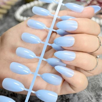Stiletto Press On Nails Fashion Sky Blue Ladies Point Fake Nails Medium Size Full Wrap DIY Manicure Tips 24pcs/kit