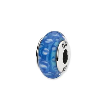 Blue, White Hand-Blown Glass Bead & Sterling Silver Charm, 13mm