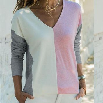 New Pink Patchwork V-neck Long Sleeve Streetwear T-Shirt