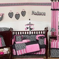 Hot Pink and Black Madison Boutique Baby Girl Bedding 9pc Crib Set by Sweet Jojo Designs, Garden, Lawn, Maintenance