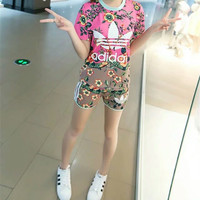 """""""Adidas"""" Fashion Casual Multicolor Flower Clover Letter Print Short Sleeve Set Two-Piece Sportswear"""