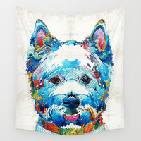 Colorful West Highland Terrier Dog Art Sharon Cummings Wall Tapestry by Sharon Cummings