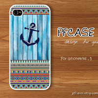 Anchor on wood light blue pattern : Handmade Case for Iphone 4/4s , Iphone 5