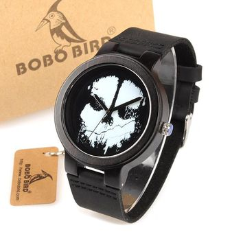 BOBO BIRD WD24 Ebony Wooden Watch for Men Cool Skull Printing Dial Face Quartz Watches accept OEM Drop Shipping