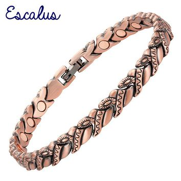 Escalus Office Hand Wearing Flower Women Bracelet 20pcs Magnets Jewelry Copper Plating Magnetic Bracelets fashion Bangle Charm