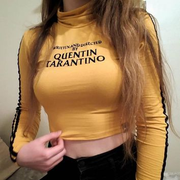 WRITTEN AND DIRECTED BY QUENTIN TARANTINO Letter Printing Long-Sleeved Sexy T-Shirt 2018 New Summer Female Tops Tees