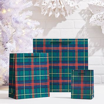 Small Holiday Plaid Gift Bag