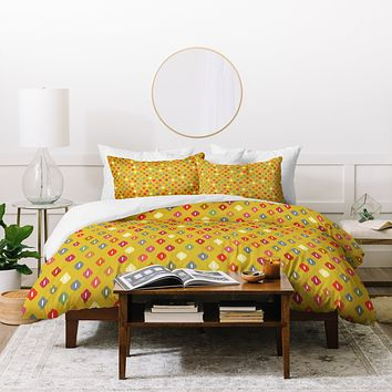 Sharon Turner Sunny Little Ikat Diamonds Duvet Cover