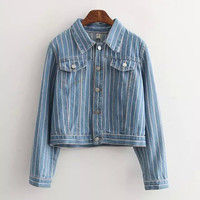Denim Stripe Long-Sleeve Button Collar Jacket