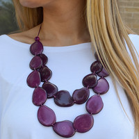 Tagua Nut Flat Necklace Two-Tone Purple