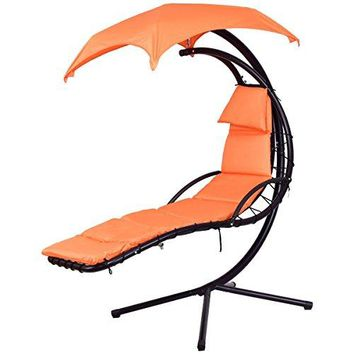 COSTWAY Arc Stand Swing Canopy Hanging Chaise Hammock - Orange + FREE E-Book