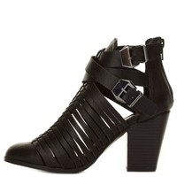Black Strappy Belted Cut-Out Chunky Heels by Charlotte Russe