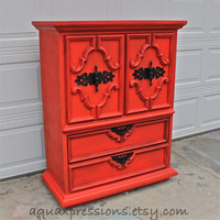 Scarlett Sun Orange Armoire/ Dresser/ Glazed and Distressed /Shabby Chic