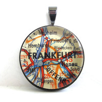 Road Map Pendant of Frankfurt Germany from by CarpeDiemHandmade