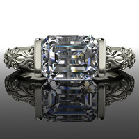 Forever Brilliant Moissanite Engagement Emerald Cut 1.75 CTW