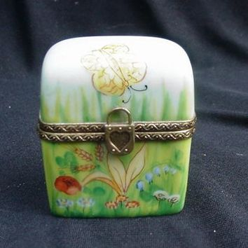 Limoges, France, Porcelain Box with Two Clear Crystal Perfume Bottles Inside