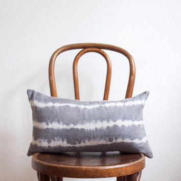 Gray & White Linen Lumbar Pillow