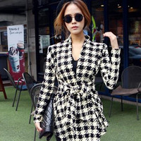 Houndstooth Print Long Sleeve Belted Long Cardigan