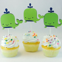 Whale Cupcake Toppers/Choose Your Colors/Baby Shower/Birthday Party
