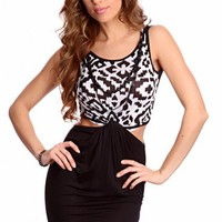 White Black Twisted Knotted Front Tribal Print Sexy Party Dress @ Amiclubwear sexy dresses,sexy dress,prom dress,summer dress,spring dress,prom gowns,teens dresses,sexy party wear,women's cocktail dresses,ball dresses,sun dresses,trendy dresses,sweater dr