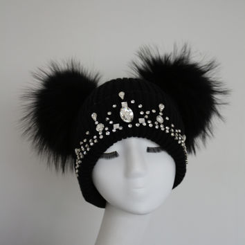 Sparkle Double Fur Pom Pom Hat Black