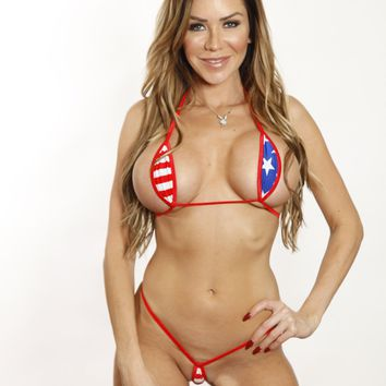 Bitsy's Bikinis Patriotic Stars and Stripes Teardrop Micro G-String Extreme Bikini 2pc Minimal Coverage Thong Barely There Bandage with Red String