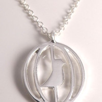 Birdcage Silver Charm Necklace