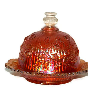 Marigold Carnival Glass Luster Rose Covered Butter Dish