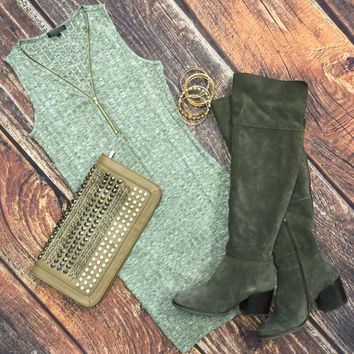 Zip Me Up Tunic Dress: Olive