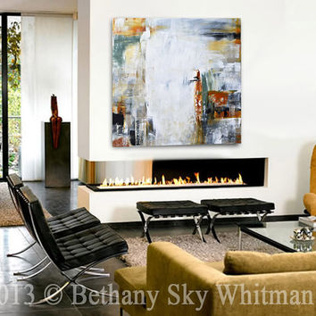 Original Large Modern Contemporary Art Charcoal Gray Abstract Painting 36x36 by Sky Whitman