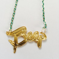 Teens Necklace Style Jewelry Beep Name Tag 50 CM Green Necklace With Pendant GOLD Unisex Designer Gifts For Him/Her/Teens Free Shipping Sale