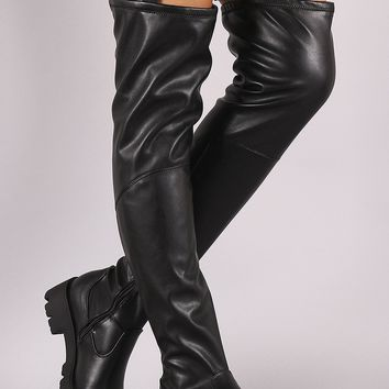 Bamboo Elastic Strap Lug Sole Over-The-Knee Platform Boots
